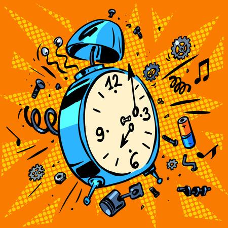 Horario de trabajo técnica de ilustraciones de un reloj despertador Foto de archivo - 43875062