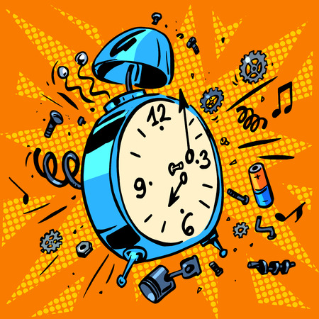 sleep cartoon: Technique work schedule illustrations of an alarm clock Illustration