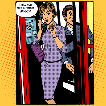 wiretapping: Retro style pop art of a woman on the public phone
