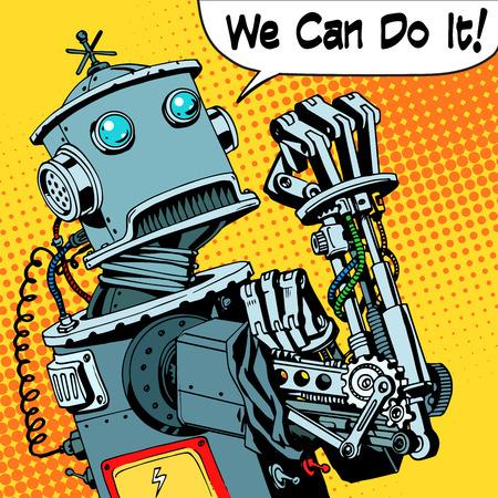robot: Robot możemy zrobić to moc protest przyszłości maszyny. Robotyka technologii stylu retro pop-artu