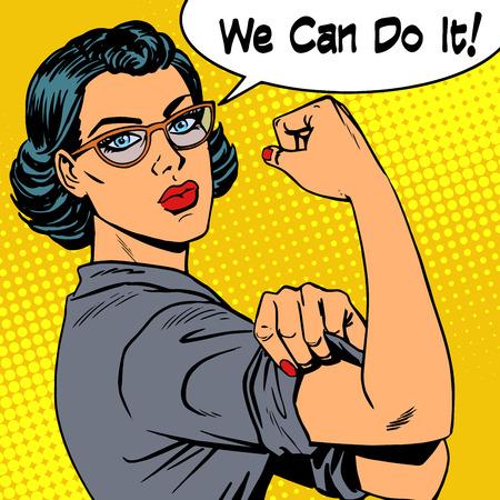 Kobieta w okularach możemy zrobić to moc feminizmu. Styl retro pop-artu