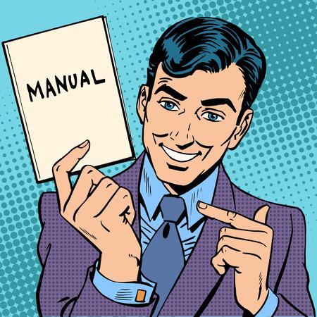 arte moderno: El hombre es un hombre de negocios con un manual en la mano. Arte pop del estilo retro