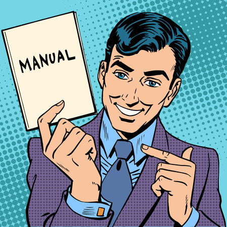People: The man is a businessman with a manual in hand. Retro style pop art Illustration