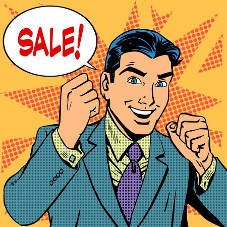 retros: Hombre de negocios de ventas de venta comercial de tiendas de descuento. Arte pop del estilo retro