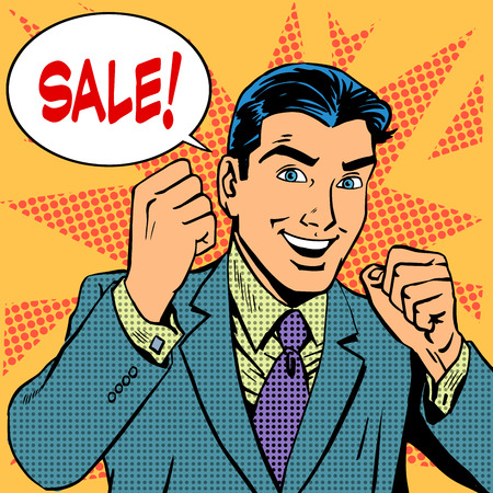 retro man: Male businessman sale sales discount store shopping. Retro style pop art