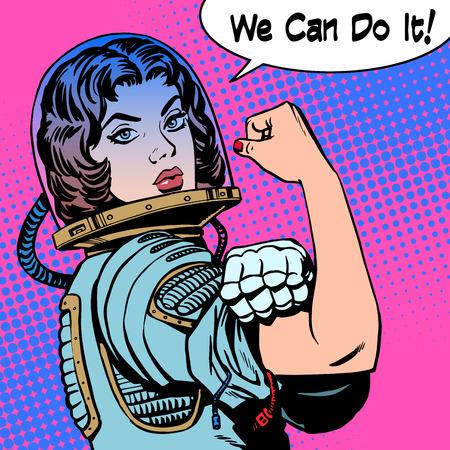 女性宇宙飛行士の抗議力を行うことができます。レトロなスタイルのポップアート  イラスト・ベクター素材