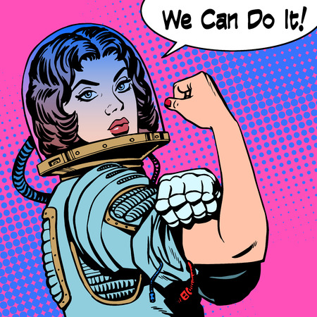 adult comic: woman astronaut we can do it the power of protest. Retro style pop art Illustration