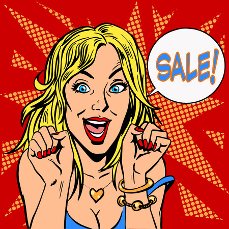 closeout: Closeout girl discounts sale. Goods and shops retro style pop art Illustration