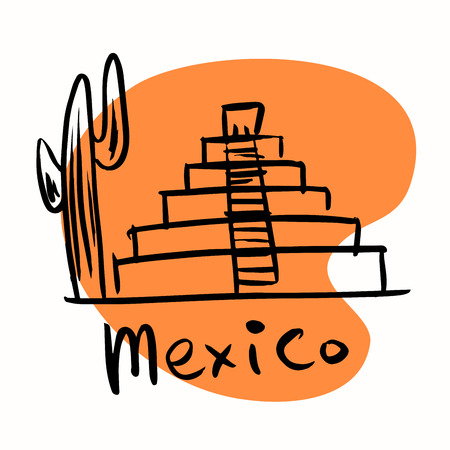 ancient civilization: Mexico city Mayan pyramids. A stylized image of the city tourism travel places