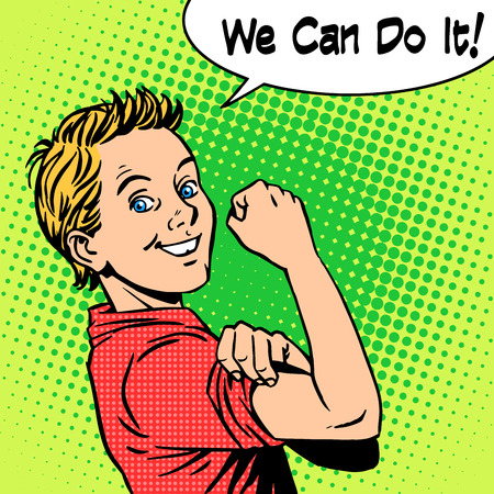 retro art: Boy the power of confidence we can do it. Retro style pop art Illustration