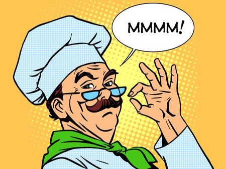 chef caricatura: Sabor cocinar las emociones olor cocci�n de alimentos profesional. Restaurante de estilo retro de la alta cocina del arte pop Vectores