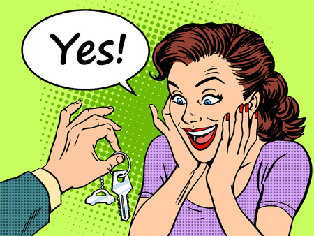 Buying a car the woman reaction to the joy of the keys to the car gift. Retro style pop art