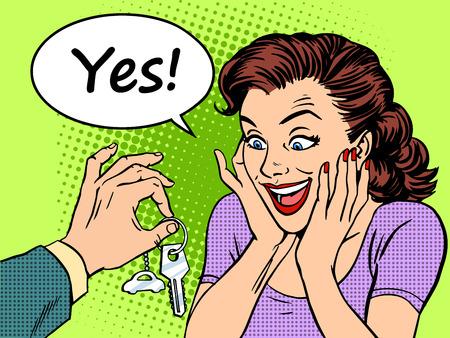 Het kopen van een auto van de vrouw reactie op de vreugde van de sleutels van de auto geschenk. Retro-stijl pop art