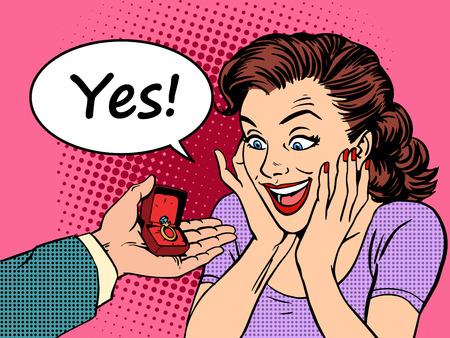 Bague de fiançailles offre de mariée de mariage mains et les c?urs du don d'amour. Pop art style rétro