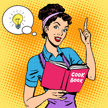 Ideas cookbook housewife recipe. Food cooking tutorial woman pop art retro style Zdjęcie Seryjne - 44238328