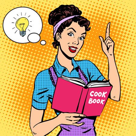 casalinga: Idee cookbook casalinga ricetta. La cottura dei cibi esercitazione donna pop art stile retr� Vettoriali