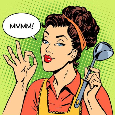여자 맛있는 요리 요리 레트로 스타일의 팝 아트 요리 레스토랑 주방 일러스트