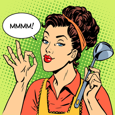pop art woman: the woman tasty dish cooking retro style pop art cooking restaurant kitchen Illustration