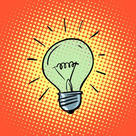 Light bulb electricity symbol ideas retro style pop art Illustration