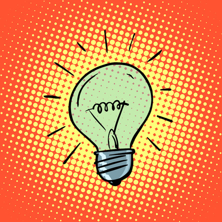 kunst: Glühbirne Strom Symbol Ideen Retro-Stil Pop-Art
