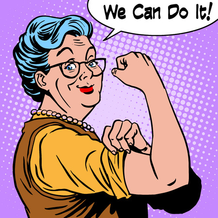 we: Granny old woman gesture we can do it. The power of confidence pop art retro style