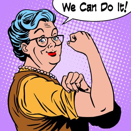 Granny oude vrouw gebaar we het kunnen doen. De kracht van vertrouwen pop art retro-stijl Stock Illustratie