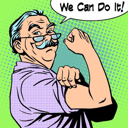 Opa de oude man gebaar kracht kunnen we het doen. Vermogen protest retro-stijl pop-art