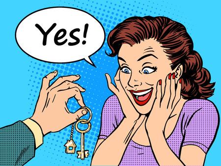 Klíče Dům realitní žena dárek koupit. Retro styl pop art Ilustrace