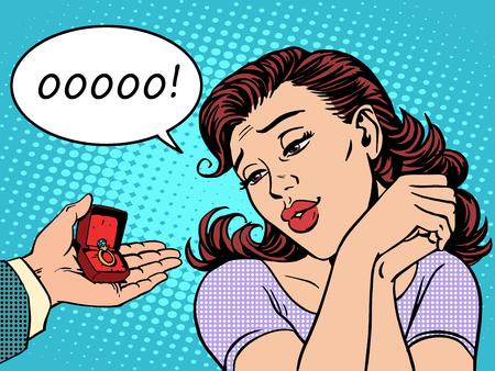 La réaction d'une femme a reçu un engagement cadeau anneau de bijoux Banque d'images - 44273842