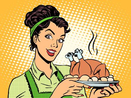 mulher: Uma mulher com um prato de frango cozido. Cozinhar em casa comida estilo retro do pop art