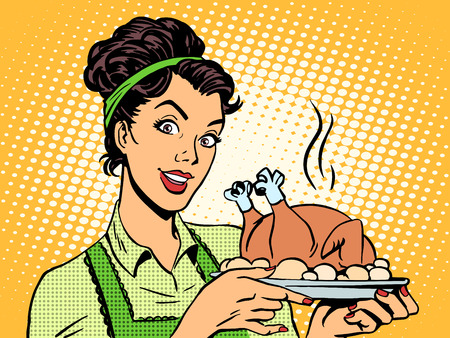 casalinga: Una donna con un piatto di pollo cotto. Cucinare a casa cibo in stile retr� pop art Vettoriali