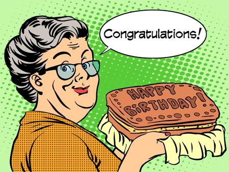 grandma: Grandma holding a happy birthday cake. Retro style pop art