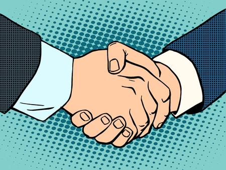 contratos: Apret�n de manos. trato de negocios. Concepto de negocio entonces el arte de estilo retro Vectores