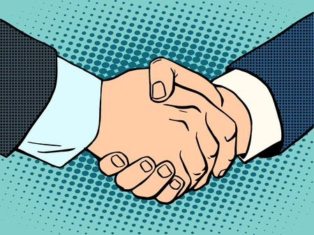 business deal: Handshake. business deal. Business concept then art retro style Illustration