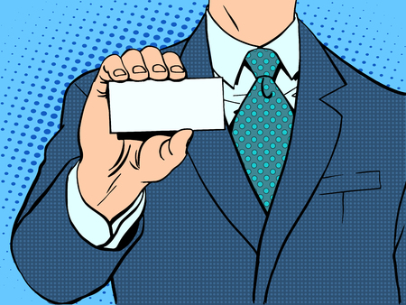 Businessman and business card. Retro style pop art Illustration