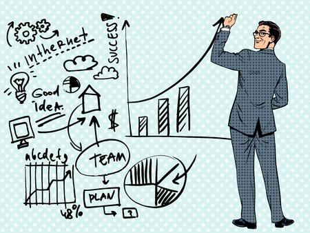 ビジネスマン成功のビジネス コンセプトを描画します。ポップなアート レトロ スタイル