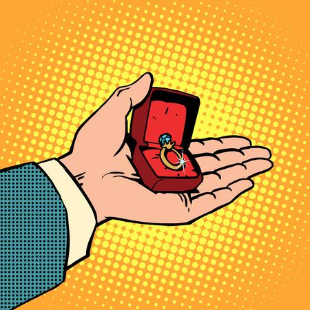 anillos boda: El compromiso de boda anillo de la mano relación de amor hombre boda. Arte pop del estilo retro