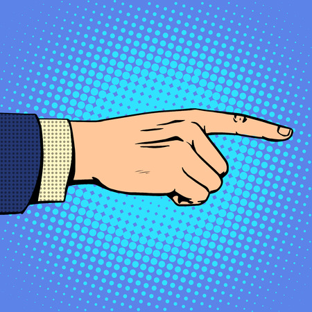 Hand pointing finger man business concept objective a forward direction. Retro style pop art Vectores