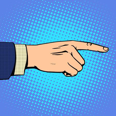 dedo apuntando: Mano que señala el dedo del hombre concepto de negocio objetivo hacia delante. Arte pop del estilo retro