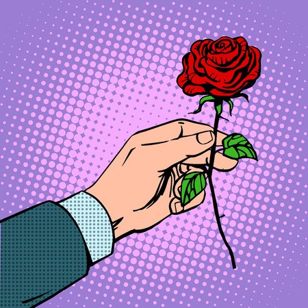 romance: The man gives a flower rose love romance Dating red. Retro style pop art vintage Illustration