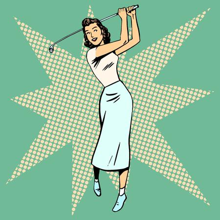 골프 레트로 팝 아트를 재생하는 아름 다운 여자입니다. 스포츠 활동적인 레저 빈티지