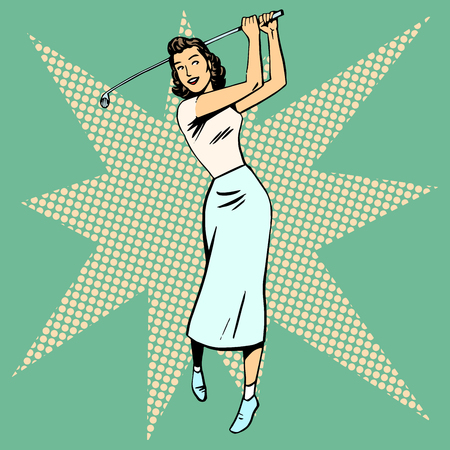 Beautiful woman playing Golf retro pop art. Sport active leisure vintage