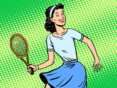 enamorados caricatura: Young woman playing tennis retro style pop art. Sport active lifestyle