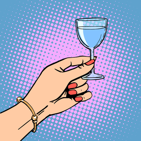 wine book: A glass of wine the woman drink a toast a celebration. Retro style pop art Illustration