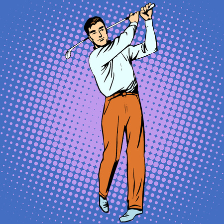 Handsome man playing Golf retro style pop art. Sport active lifestyle