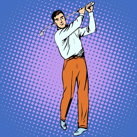 hombre guapo: Hombre guapo jugar Golf del arte pop retro estilo. Deporte estilo de vida activo Vectores