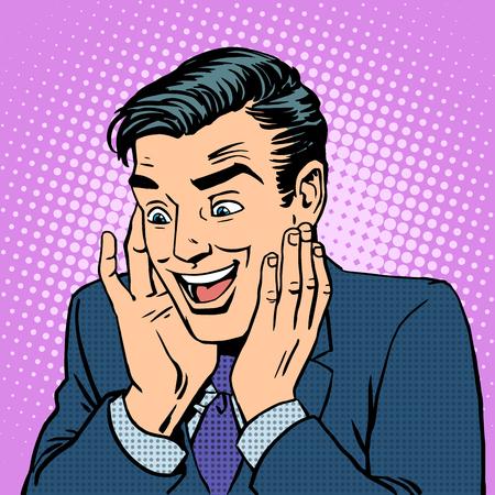 historietas: reacción del hombre a la alegría de las emociones de la persona. Arte pop del estilo retro