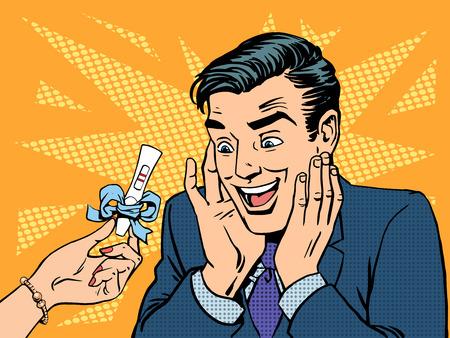 prueba de embarazo: Una prueba de embarazo de dos tiras de un hombre feliz. Salud y medicina fertilización bebé feto embrión papá mamá. Amor relación romántica. Arte pop del estilo retro Vectores