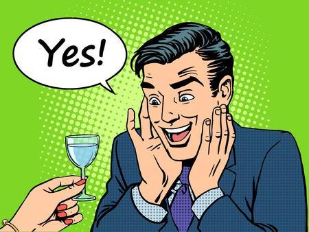 De vreugde van de mannelijke alcoholist. Reactie op een glas wijn. Drinkt retro-stijl pop art humor