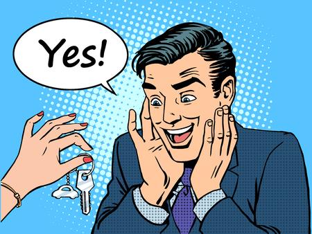 style: Geschenk neue Maschine Frau gibt dem Mann einen Wagen. Schlüsselanhänger Autoschlüssel. Retro-Stil Pop-Art- Illustration